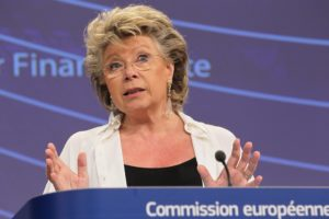 epa03316981 Vice-President of the EC in charge of Justice, Fundamental Rights and Citizenship Viviane Reding talks during a joint press conference with Member of the EC in charge of Internal Market and Services Michel Barnier (unseen), at the European Commission headquarters in Brussels, Belgium, 25 July 2012. European Commission proposes EU-wide action to fight rate-fixing on Libor Scandal.  EPA/JULIEN WARNAND