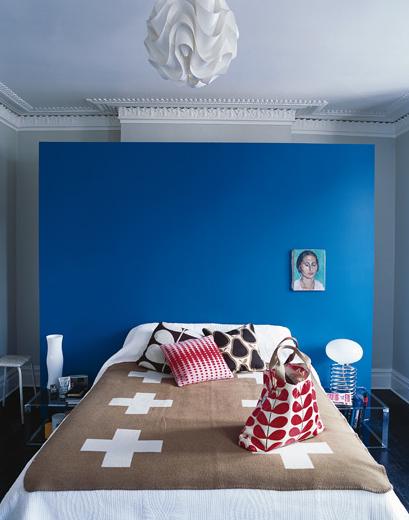 Wohnzimmer und Kamin wohnzimmerwand blau : Farbige Wandgestaltung Esszimmer: Wand streichen ideen kreative ...
