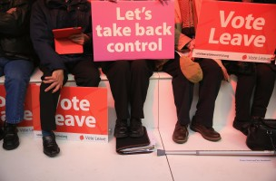 MANCHESTER, ENGLAND - APRIL 15:  Vote Leave supporters wait for London Mayor Boris Johnson to address campaigners during a rally for the 'Vote Leave' campaign on April 15, 2016 in Manchester, England. Boris Johnson is taking part in a 48 hour 'Brexit Blitz' of campaigning in Northern England. Britain will vote either to leave or remain in the EU in a referendum on June 23.  (Photo by Christopher Furlong/Getty Images)