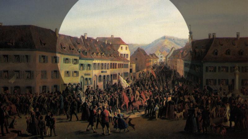 Empfang mit Hurra-Rufen: «Einzug der Freischärler in Lörrach am 20. April 1848», gemalt von Friedrich Kaiser. Foto: PD