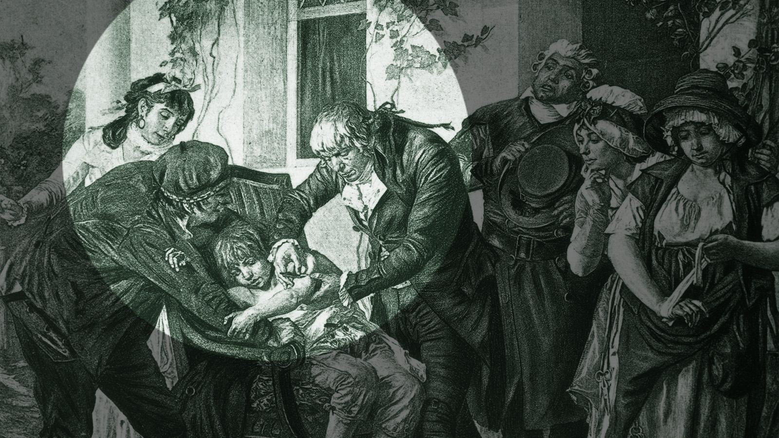 Genial oder grausam? Dr Edward Jenner bei der Impfung eines Achtjährigen. (Foto: Three Lions/Getty Images)