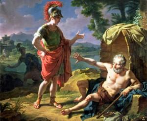 Das Denken soll durch nichts eingeschränkt werden: Diogenes bittet Alexander, aus der Sonne zu treten.