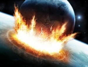 Der Weltuntergang ist abgeblasen: Illustration der Kollision von Mond und Erde.