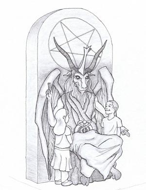 Skizze des Monuments, das der Satanic Temple errichten will. Grafik: Keystone