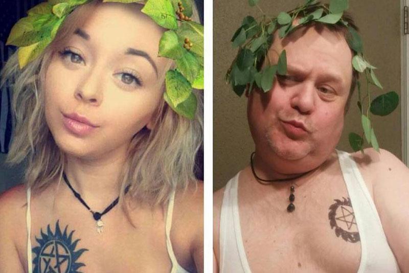Original und Kopie: Cassie und ihr Vater Chris «Burr» Martin. Screenshot: Instagram therealburrmartin