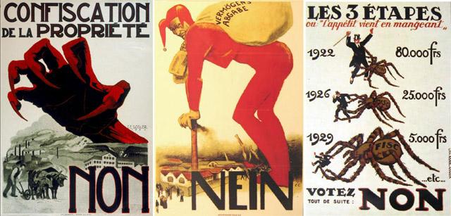 Plakate gegen die Vermögensabgabe von 1922. (Fotos: Wikipedia)
