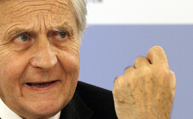 Drohte der irischen Regierung: Der ehemalige EZB-Präsident Jean-Claude Trichet bei einem Wirtschafts-Symposium in St. Gallen (3. Mai 2012) (Keystone/Ennio Leanza)