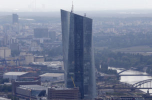 The new headquarters of the European Central Bank is photographed in Frankfurt, Germany, Wednesday, May 21, 2014. The ECB is supposed to move into the building by the end of 2014. (AP Photo/Michael Probst)