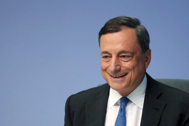 epa04910707 President of the European Central Bank (ECB), Mario Draghi speaks during an ECB press conference in Frankfurt Main, Germany, 03 September 2015. The ECB governing council has decided to keep the Eurozone base rate at the record low of 0.05 per cent, according to the central bank in Frankfurt. EPA/FREDRIK VON ERICHSEN