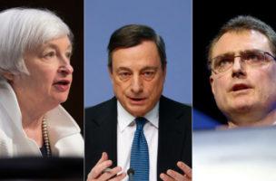 Auf der Anklagebank: Die Notenbankchefs Janet Yellen (USA), Mario Draghi (EU) und Thomas Jordan (CH). (Reuters/Keystone)