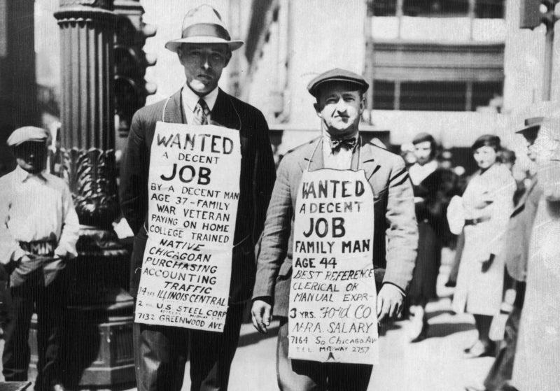Nicht nur ihnen brachte der Protektioniusmus Unglück: Zwei Stellensuchende in Chicago, 1934. Foto: Getty Images