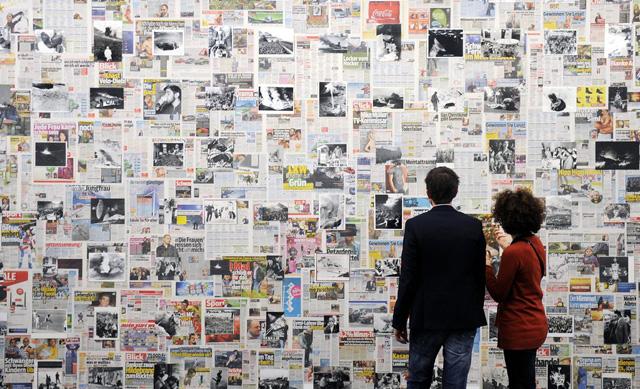 Die meistgelesene Bezahlzeitung der Schweiz: «Blick»-Ausstellung im Aargauer Kunsthaus (26. Januar 2012).(Bild: Keystone/Walter Bieri)