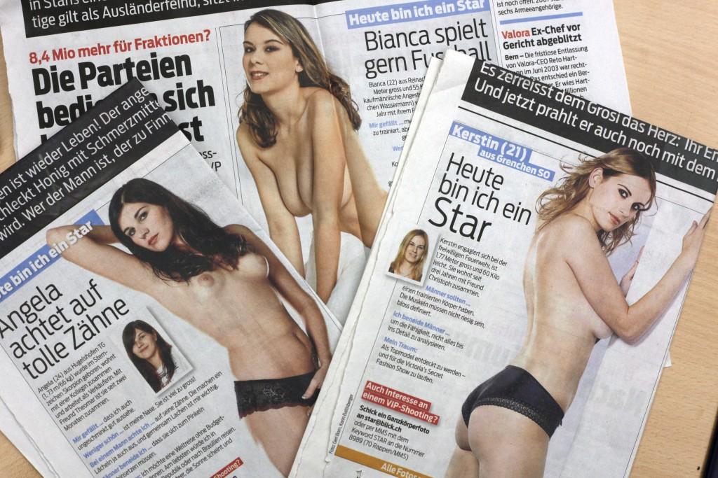 """Blick-Girls: Ausschnitte der Seite 1 aus dem """"Blick"""". (Foto: Nicola Pitaro)"""