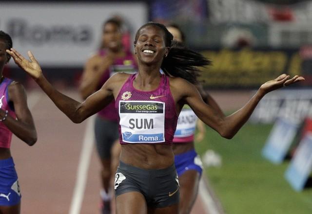 Eunice Jepkoech Sum (KEN) geniesst ihren Einlauf an Diamond League Meeting 2014 in Rom über 800 Meter. Foto: Reuters