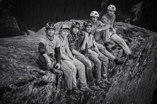 Das Team (v.l.): Lukas Hinterberger, Sébastien Monnet, Sebastian Briw, Roman von Schulthess, Nicolas Hojac, Lead-Guide Denis Burdet. (Foto: Thomas Senf)