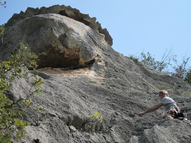 Plötzlich kreiste ein verstärktes Geschwader von gelbschwarzen Flugobjekten um seinen Kopf: Emil Zopfi macht im Kletterparadies Finale (Italien) neue Erfahrungen.