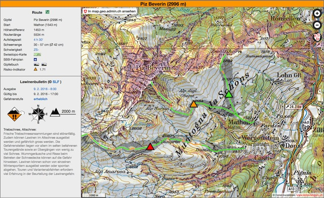 Beispiel Skitour auf den Piz Beverin (GR) bei «erheblicher Lawinengefahr» am 9. Februar 2016. Die kritischen Routenabschnitte sind «orange» markiert. Das bedeutet: «Erhöhtes Risiko. Vorsicht und Erfahrung nötig.» Quelle: www.skitourenguru.ch