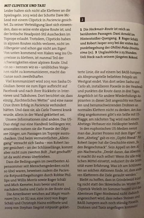 Ein Ausschnitt aus dem Artikel im Magazin Klettern, der derzeit auf sozialen Medien herumgereicht wird. (Foto via imgur.com)
