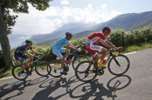 Spain's Daniel Navarro, Italy's Vincenzo Nibali and South Africa's Daryl Impey, from right to left, climb Aspin pass during the seventh stage of the Tour de France cycling race over 162.5 kilometers (100.7 miles) with start in L'Isle-Jourdain and finish in Lac de Payolle, France, Friday, July 8, 2016. (AP Photo/Christophe Ena)