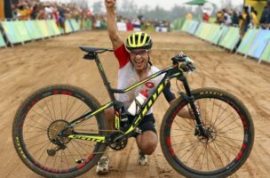 2016 Rio Olympics - Cycling mountain bike - Final - Men's Cross-country Race - Mountain Bike Centre - Rio de Janeiro, Brazil - 21/08/2016. Nino Schurter (SUI) of Switzerland celebrates.  REUTERS/Paul Hanna  FOR EDITORIAL USE ONLY. NOT FOR SALE FOR MARKETING OR ADVERTISING CAMPAIGNS.