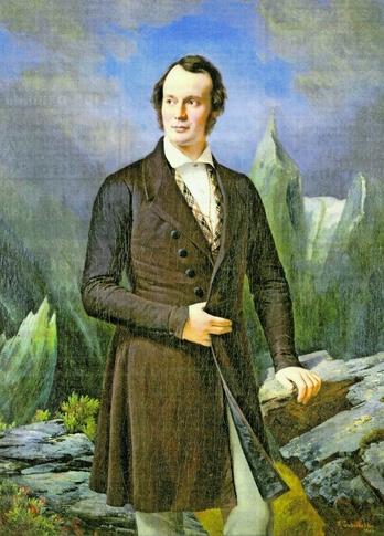 Gletscherforscher Louis Agassiz im Alter von 33 Jahren. Später wurde er Rassist. Gemälde: Fritz Zuberbühler (wikipedia)