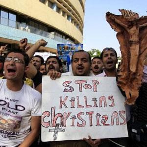 «Stoppt das Töten von Christen»: Kopten protestieren in Kairo.