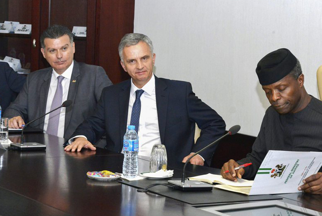 epa05201018 Swiss Federal Councillor and Foreign minister Didier Burkhalter (2-R) along with Chief of Staff to the Swiss Foreign minister Daniel Cotter (L) and Swiss Ambassador to Nigeria Eric Mayoraz (2-L) meets Nigeria's Vice President Yemi Osinbajo (R) at the presidential villa in Abuja, Nigeria 08 March 2016. Switzerland's Foreign minister Didier Burkhalter is on an official visit to Nigeria. EPA/DEJI YAKE