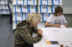 Jugendliche lesen am 15. Mai 2009 im Bildungsinformationszentrum BIZ in Sursee, Schweiz, Mappen mit Informationen ueber verschiedene Berufe. (KEYSTONE/Gaetan Bally)