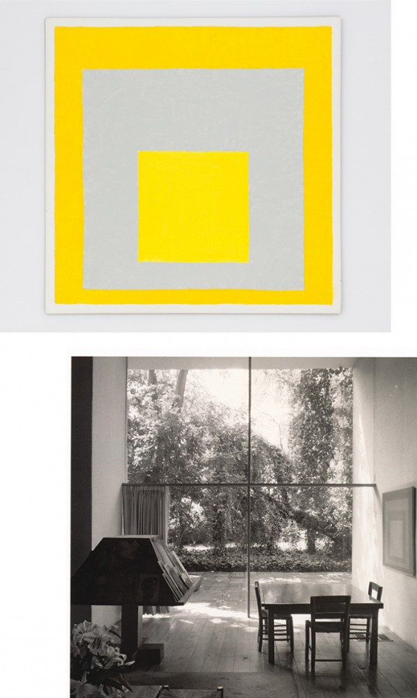 Jill Magid, Homage to a Square, After Josef Albers, 2014, Photo: Paul McGeiver | Barragan House living room, Photo: Alberto Moreno