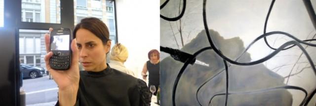 """""""Blackberry»-Painting, präsentiert von Nora, Selbstporträt des Künstlers als Kabelsalat"""
