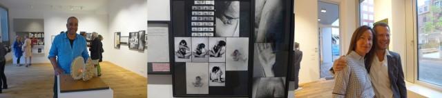 Werber James Wolfensberger vor dem Modell zu Acconcis «Clam Shelter», die Beissperformance, Kenny Schachter mit Kathrin Genovese