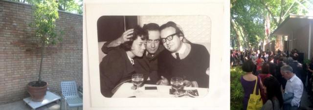 Carsten Höllers Duftbaum, Cedric Price (rechts) mit Freunden,Leuenberger hört zu