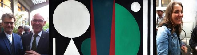 Tagi-Online-Chef Michael Marti, Haus-Konstruktiv-Präsident Andreas Durisch, ein Werk von Auguste Herbin, Künstlerin Claudia Comte