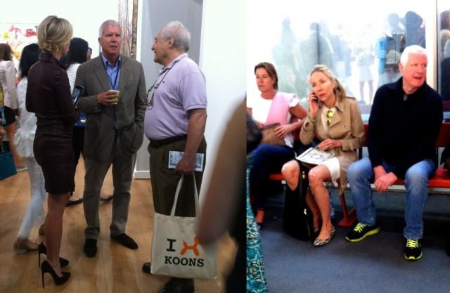 Grossgalerist Larry Gagosian (links in der Mitte der Gruppe), Art Conultant Michaela Neumeister und Sammler «Mick» Flick am Rande der Messe