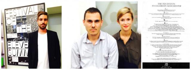Ronnie Füglister, der das Ausstellungsplakat und die neue Website der Kunsthalle entworfen hat, Künstler Fabio Pirovino und Gina Folly, das Programm des historischen Festivals «of tenth summer»