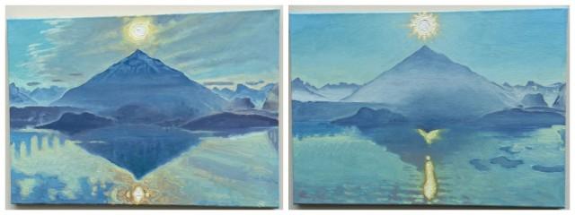 Zwei Niesen-Ansichten Thunersee-Serie von Schnyder (er malte auch den Niederhorn)