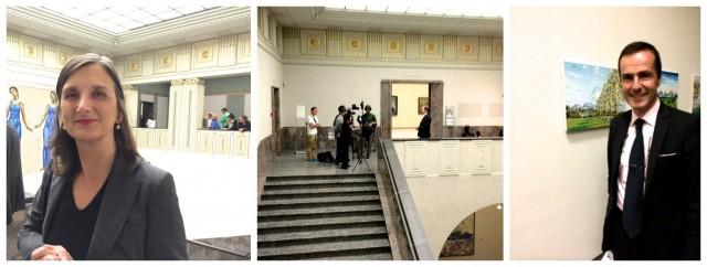 Ehemalige Kunsthaus-Kuratorin, heute Chefin der Fondation Van Gogh in Arles, Bice Curiger, Sotheby's Chef Stefan Puttaert (rechts), in der Mitte: das japanische Fernsehen interviewt den Sammlungskurator Philippe Büttner