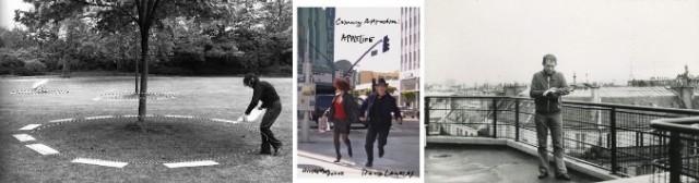 Historische Performance-Fotos von David Lamelas: In der Mitte mit Hildegard duane bei den Dreharbeiten zum Film «Diktator», rechts ein Filmstill aus 18Paris IV.70