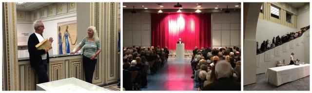 Peter Fischli im Gespräch mit der Journalistin Angelika Maas, bei der Vernissagenansprache, die Menge stürmt die Ausstellung