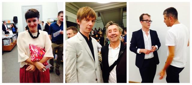 Kuratorin Mara Berger, Noch-Kunsthalle-Chef Adam Szymczyk mit dem legendären Lamelas, Kurator Fabian Schöneich mit dem Künstler Raphael Hefti