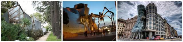 Von links: Gehrys eigener Haus in Santa Monica, Guggenheim Bilbao (mit Louise Bourgeois' Spinne davor, das «tanzende» Haus in Prag