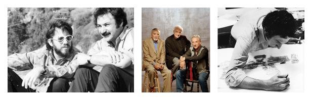 Von links: Frank Gehry und ed Moses in den 1960-er Jahren, Die LA-Modernisten: Denis Hoper, Frank Gehry, Ed Ruscha, Robert Rauschenberg am Werk