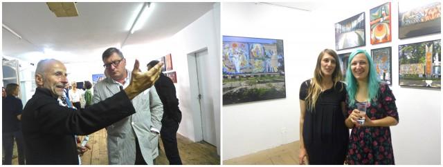 Die beiden Kuratorinnen von «Echolot»: Irene Grillo (Binz 39) und die georgische Nachwuchs-Kuratorin Ana Gabelaia (mit blauem Haar). Links: Gönnerverein-Leiter Dr. med. Gianni Garzoli