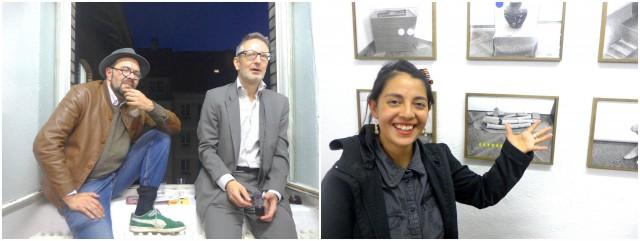 Künstler Mark Divo, Journalist, Filmer und Künstler Haemmerli, Ana roldan vor ihrem Werk «Different Orders»
