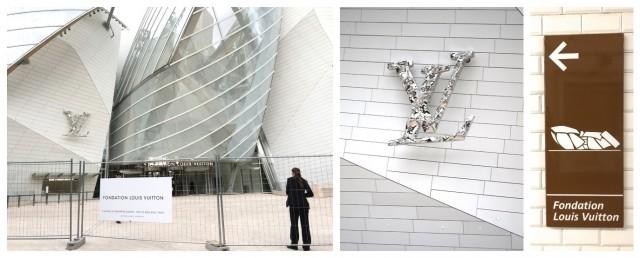 Von rechts: Der Metro-Wegweiser (braun)  zeigt das Problem des neuen Supermuseums karikaturistisch auf - es sieht aus wie ein langer Käfer oder... ach, lassen wir das. Mitte: Louis-Vuitton-Logo über dem Eingang. Links: Es türmt sich jäh vor einem auf.