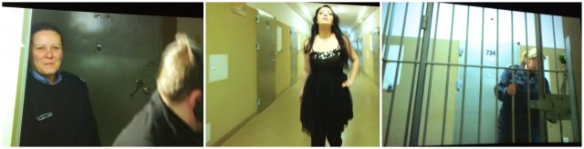 Szenen aus «Makingof»: Catwalk im Gefängnisgang (Mitte) Wärterin schaut zu (links), Zurück hinter Gitter (rechts)