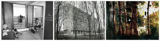 Ansichten der Unité d'habitation in Briey-le-Forêt aus den 50-er Jahren, Peter Doigs Gemälde «Concrete Cabin» von 1994