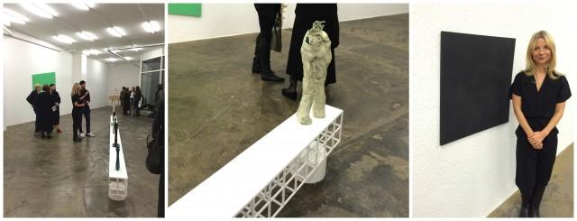 Blick in die Ausstellung, eine Keramik-Skulptur von Simone Fattal, Galeristin Karolina Dankow neben einem Salz-Objekt von Carissa Rodriguez