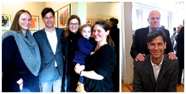 Kornfeld-Partner Bernhard Bischoff mit dem Galeriegründer (rechts) und mit Schwestern Linda und Nina, der Nichte Finja und der Partnerin Tanja Stettler