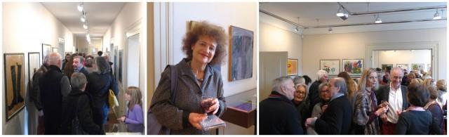 Fullhouse bei Kornfeld: v.l. der «Kunstkorridor» der Galerie, Enkelin Chagalls, Mme Meret Meyer, s.g. Raum zwei